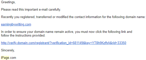 domain verification email