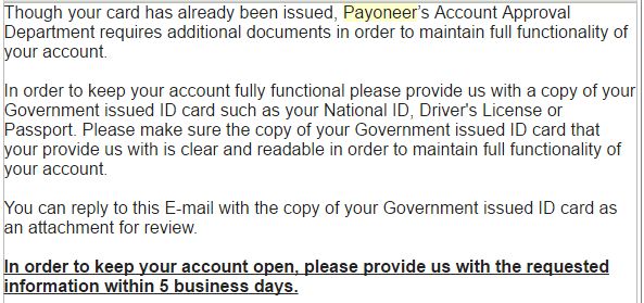 payoneer account verification