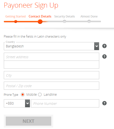 payoneer sign up form 2