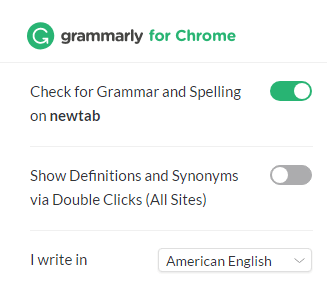 grammarly extension actiavted