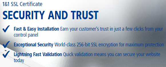 1and1 ssl cerfificates