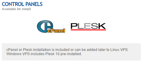 optional cpanel or plesk