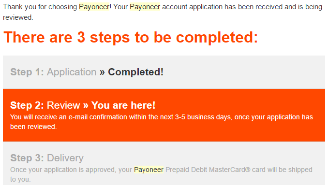 payoneer application approval