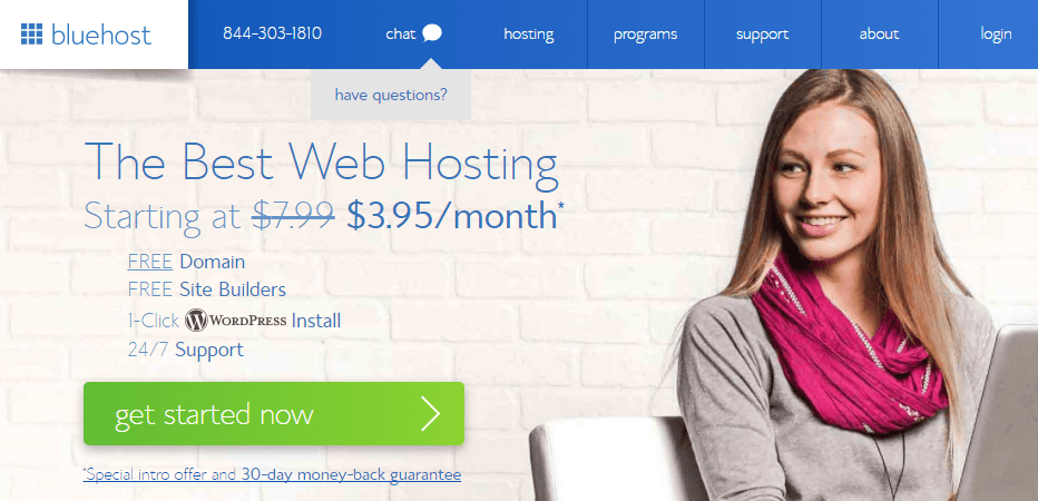 landing page of bluehost